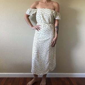 Amuse Society Cream and Black Polka Dot Dress